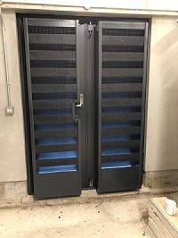 Acoustic Louvre Doors with Emergency Release Function